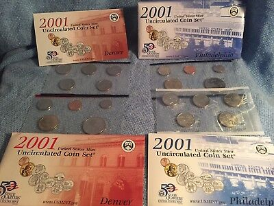 2001 United States Mint Uncirculated Coin Set Denver/Philadelphia