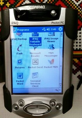 Compaq iPAQ 3950 Pocket PC with matching Compaq Cradle & HP Folding Keyboard