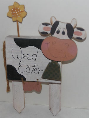"""Weed Eater Wood Cow Wall Hanging Sign farm animal wooden 9"""" x 14"""""""