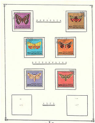"""Mongolia 1974 Amazing Set Very Fine Used Stamps Hinged on list """"Baterflies"""""""
