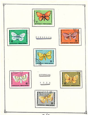 """Mongolia 1978 Amazing Set Very Fine Used Stamps Hinged on list """"Baterflies"""""""