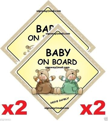 BABY ON BOARD x 2 - Two Bears - MADE IN AUSTRALIA - with Peel Strips FREE POST