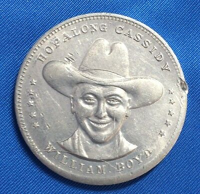 Original Vintage HOPALAONG CASSIDY William Boyd Cowboy GOOD LUCK Aluminium TOKEN