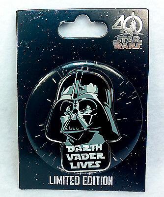 Disney STAR WARS DARTH VADER BUTTON PIN 40th Anniversary Limited Edition