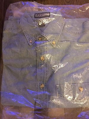 INTEL company PROMO Promotional Promo Swag BLUE JEAN SHIRT Medium - NEW
