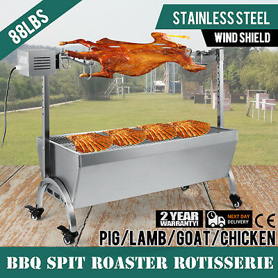 88 Lbs Bearing Lamb Spit Roaster Machine Electric Trotter Roast Barbecue