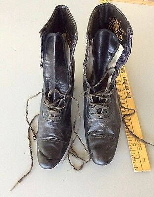 VTG 1900's Victorian Era Lace-Up Boots Soft Leather Women's  Black Granny Boots