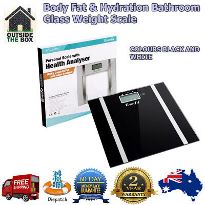 Scales Electronic DIGITAL Body Fat & Hydration Bathroom Glass Weight SCALE 180KG