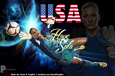"""043 Hope Solo - Team USA Keeper Football Soccer Wowen Olympic 21""""x14"""" Poster"""