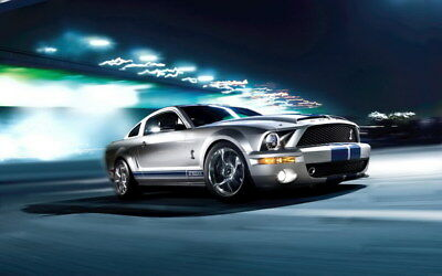 """058 Mustang - Ford Shelby GT500  Classic Racing Car concept 38""""x24"""" Poster"""