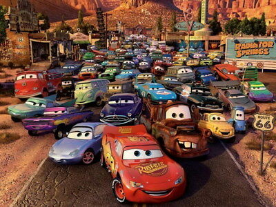 "041 Cars - Pixar Lightning McQueen Cartoon Movie 32""x24"" Poster"