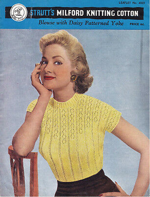 VINTAGE KNITTING PATTERN COPY  - LADIES TOP WITH DAISY PATTERNED YOKE. 1950's