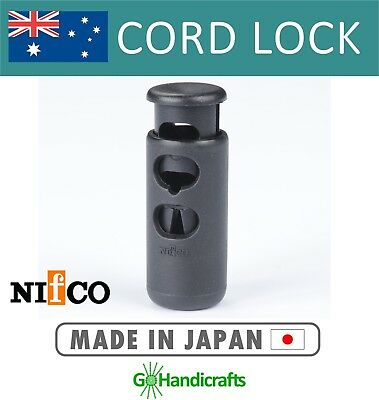 8 x QUALITY CORD LOCKS TOGGLES LARGE DOUBLE HOLE BARREL BLACK NO-MORE-RUST