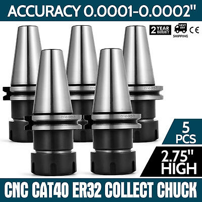 5 Pcs Collet Chuck Cat40 Er32 End Mill Holders Coolant Milling Straight Shank