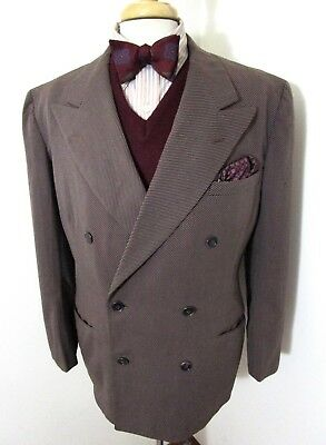Vtg 1940s Double Breasted black suit jacket 42 R ~ GABARDINE blazer UNION MADE