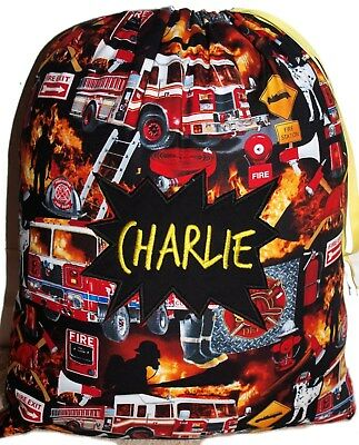 Personalised drawstring library bag - Fire Truck