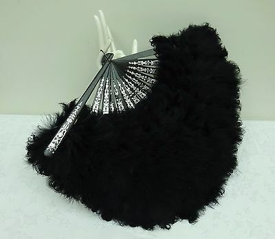 Pretty Antique Feather Hand Fan 19th Century Black Burlesque Moulin Rouge