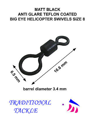 Big Eye Helicopter/ Chod  Swivels Size 8 - Teflon Matt Black