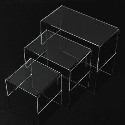 Acrylic PERSPEX® Riser Shelf Nesting Plinths Display Stand small BLACK RED CLEAR