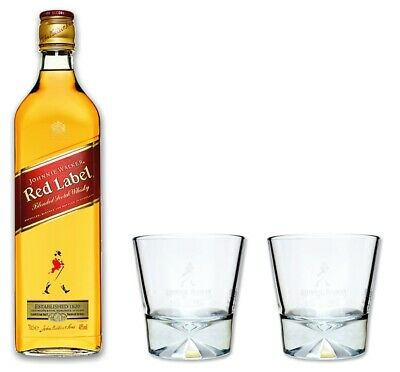 Johnnie Walker red label Whisky 0,7l 40% + 2 original Tumbler Gläser - Set -Glas