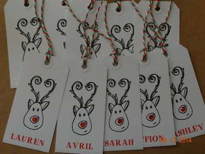 10 Personalised Embellished Rudolph The Red Nose Reindeer Christmas Gift Tags