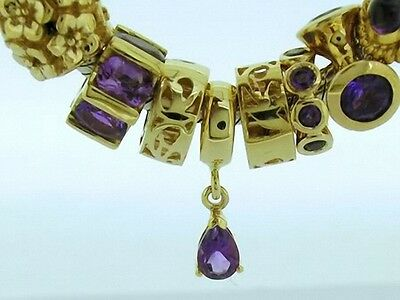 Bd103/38- Lovely Genuine 9k 9ct Solid Gold Natural Amethyst Dangle / Drop Bead