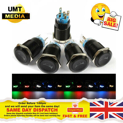 12V Horn Push Button - 16mm Momentary Metal Switch Car Boat LED IP67 Waterproof