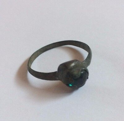 Great Ancient bronze ring with big green stone Middle Ages original