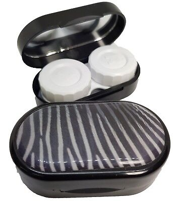 Animal Skin Mirror Case - Contact Lens Soaking Storage Case UK MADE - Zebra
