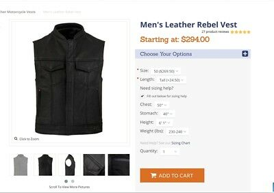 Fox Creek Rebel Leather Motorcycle Vest - USED Size 50 Tall