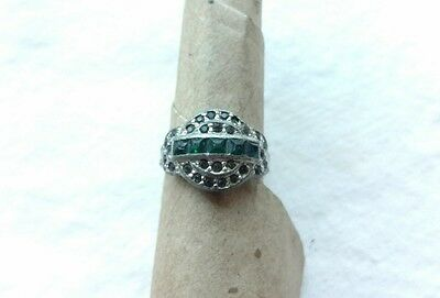 Silver and Green Stone Adjustable Vintage Ring, Size 7