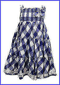 Girls Dresses - Next Floral - Hellow Kitty - Blue Check  - Ages 9-12M To 5-7 Yr