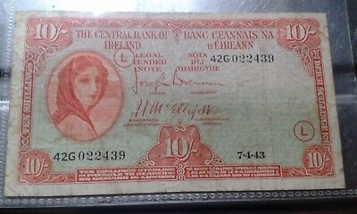 """Ireland series """"A"""" Lady Lavery 1943 10 shilling note """"WAR CODE L"""""""