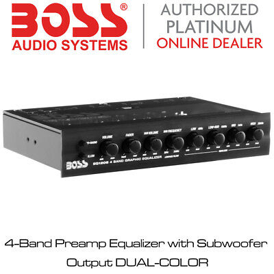 Boss Audio EQ1208 - 4-Band Preamp Equalizer with Subwoofer Output DUAL-COLOR