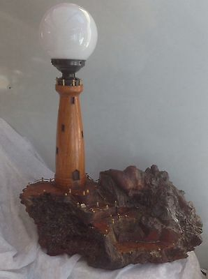 Original Art Deco Hand Crafted Burr Wooden Lighthouse Lamp