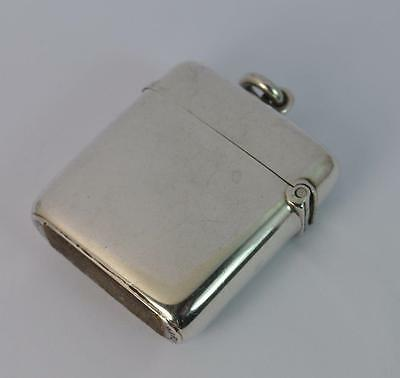 1901 Victorian Plain Design Sterling Silver Vesta Case - Patent Design