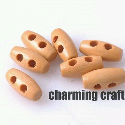 6 x 15mm tiny cute natural  light brown wooden toggle buttons