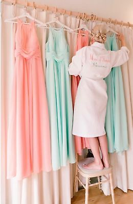 Personalised Embroidered name Bride White Waffle dressing gown wedding