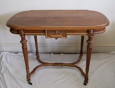 Quality French Empire Style Mahogany Side Table - (117123)