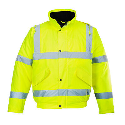 Portwest US463 Hi-Vis Bomber Jacket, Waterproof With Reflective Tape, Yellow