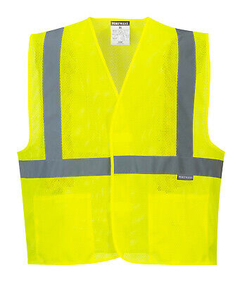 Hi Vis Reflective Mesh Vest Safety Work ANSI Class 2 Pockets, Portwest UC492