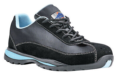 Ladies Safety Shoe Trainer Steel Toe Work Leather Black 5-11, NEW Portwest FW39