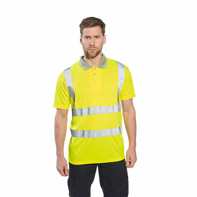 Hi Vis Polo Shirt Short Sleeve Yellow Class 2, S-7XL Reflective, Portwest S477