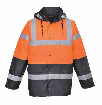 Portwest US467 Hi-Vis Two Tone Traffic Jacket In Orange & Navy to ANSI Class 3