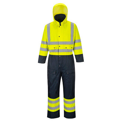 Portwest S485 Hi-Vis Reflective Safety Work Waterproof Quilt Lined Coverall ANSI