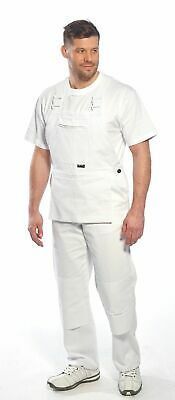 Painters Bibs Overall Coverall White Knee Pad Pockets 100% Cotton Decorator S810