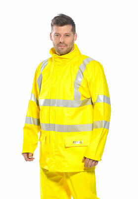 Flame Resistant High Vis Jacket Waterproof Reflective Hood Zip, Portwest FR41
