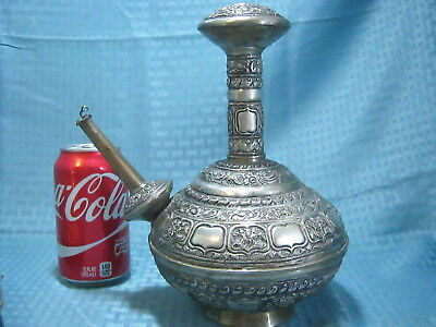 Large Antique 19th Century Malaysian Indonesian Silver Repousse Kendi
