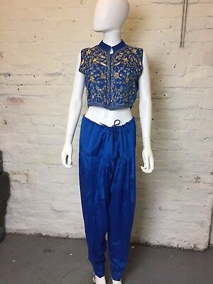 Vintage Retro 90s Blue Embroidered Waistcoat and Hareem Trouser Set