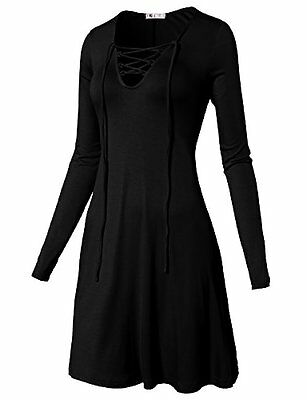 #CWTTL0169 H2H Womens Solid Loose Fit Unbalanced Long Sleeve V-Neck Tunic Top